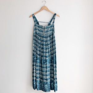 Free People Peasant Sleeveless Midi Dress Blue/Grn